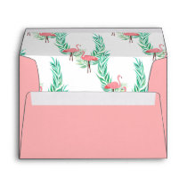 Coral Pink with Watercolor Flamingo Lining Envelope