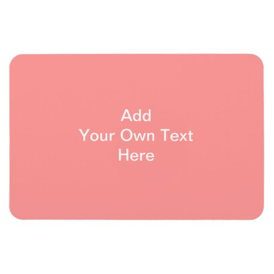 Coral Pink with White Custom Text Magnet