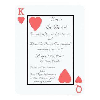 Coral Playing Card King/Queen Save the Date