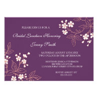 Coral Plum Floral Bridal Lunch Invitation Cards
