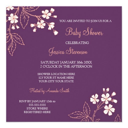 custom baby shower invitations square invitation card zazzle