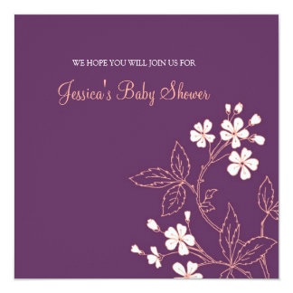 Coral Plum Floral Custom Baby Shower Invitations