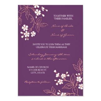 Coral Plum Floral Photo Wedding Invitation Cards
