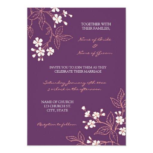Coral Plum Floral Photo Wedding Invitation Cards Zazzle