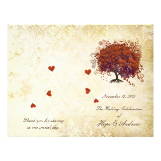 Coral Plum Heart Leaf Tree Gold Wedding Program