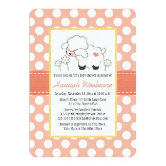 Coral Polka Dot Lamb Baby Shower 5x7 Paper Invitation Card
