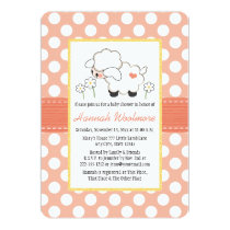 Coral Polka Dot Lamb Baby Shower Invitation