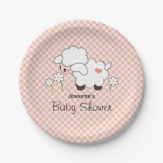 Coral Polka Dot Lamb Baby Shower Paper Plate