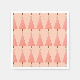 Coral polka dot modern Christmas tree Paper Napkins