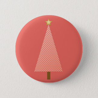 Coral polka dot modern Christmas tree Pinback Button