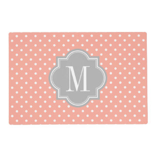 Coral Polka Dot with Gray Monogram Placemat