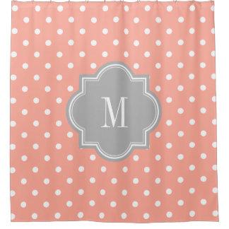 grey and coral shower curtain. Coral Polka Dot with Gray Monogram Shower Curtain Curtains  Zazzle