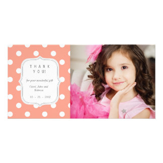 Coral Polka Dots - Any Occasion Thank you Card
