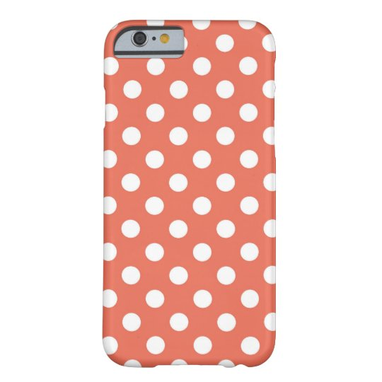 Coral Polka Dots Pattern Barely There iPhone 6 Case