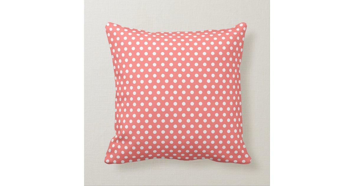 Coral polkadot throw pillow Zazzle