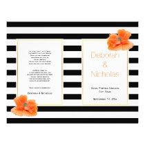 Coral poppies black white stripes wedding program