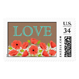 Coral Poppies Lace Rustic Love Wedding Postage