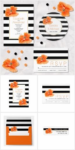 Coral poppy black white stripes wedding collection
