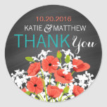 "Coral Poppy Chalkboard Modern Thank You Label<br><div class=""desc"">Coral poppy floral bouquet over chalkboard background thank you label design for a modern wedding.</div>"