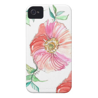 Coral Poppy Watercolor iPhone Case iPhone 4 Case