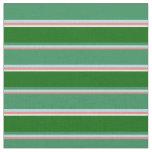 [ Thumbnail: Coral, Powder Blue, Sea Green, Dark Green & White Fabric ]