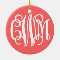 Coral Preppy Chevron Script Monogram CWM Ceramic Ornament