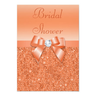 Coral Printed Sequins Bow & Diamond Bridal Shower Card