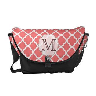 Coral Quaterfoil Latti Monogram Bag Tote Purse Messenger Bag