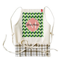 Coral Quatrefoil Green Chevron Patchwork Pattern Zazzle HEART Apron