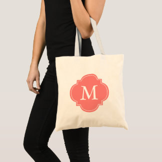 Coral Quatrefoil Monogram Tote Bag