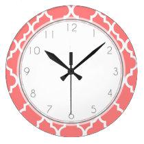 Coral Quatrefoil Pattern Large Clock