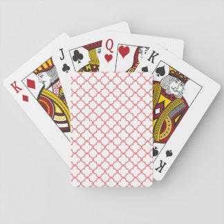 Coral Quatrefoil Pattern Poker Cards