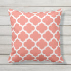 Coral Quatrefoil Pattern Outdoor Pillows