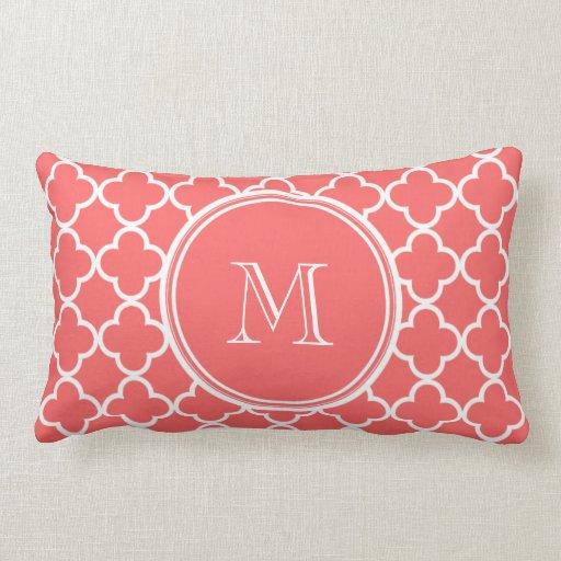 Coral Quatrefoil Pattern, Your Monogram Throw Pillow Zazzle