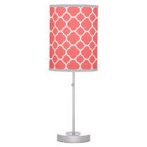Coral Quatrefoil Table Lamp