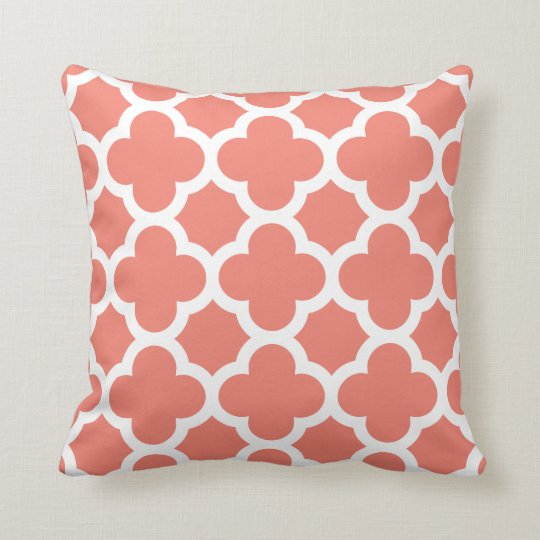 Coral Quatrefoil Throw Pillow