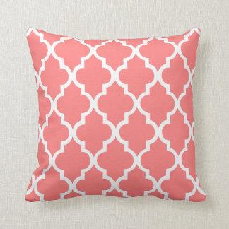 Coral Quatrefoil Tiles Pattern Throw Pillow