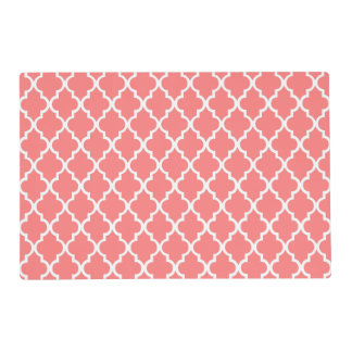 Coral Quatrefoil Tiles Pattern Placemat