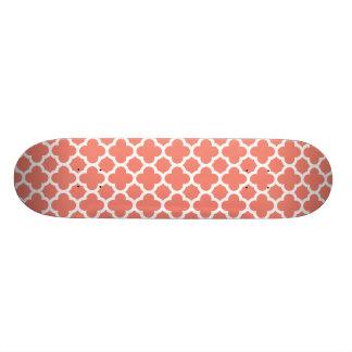 Coral Quatrefoil Trellis Pattern Skateboard Deck