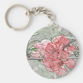 Coral quince flower key chain