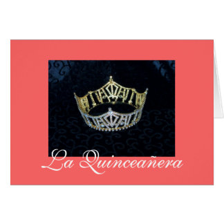 Coral Quinceanera Gold Crown Invitation Greeting Card
