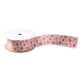 Coral Red And And White Vintage Floral Damasks Satin Ribbon