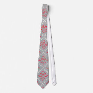 Coral Red and Cream Damask on Silver Gray Tie