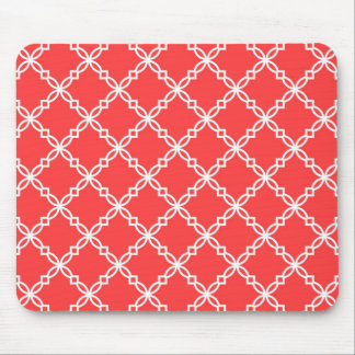 Coral Red and White Fancy Quatrefoil Pattern Mouse Pad