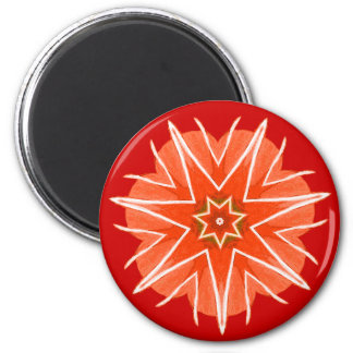 Coral red and white fantasy sea star shape,magnet 2 inch round magnet