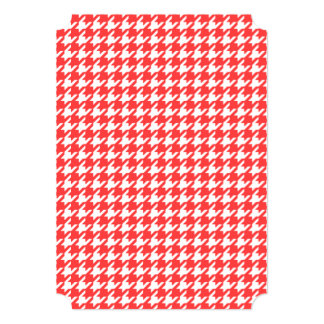 Coral Red and White Houndstooth Pattern 5x7 Paper Invitation Card