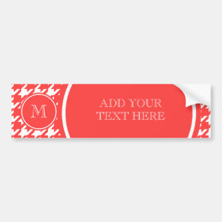 Coral Red and White Houndstooth Your Monogram Bumper Sticker