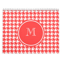 Coral Red and White Houndstooth Your Monogram Calendar