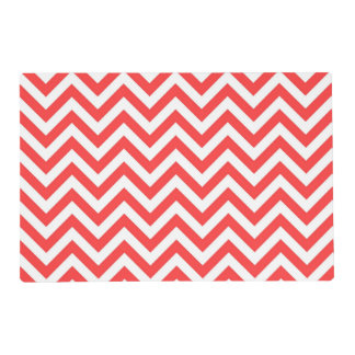 Coral Red and White Large Chevron ZigZag Pattern Placemat