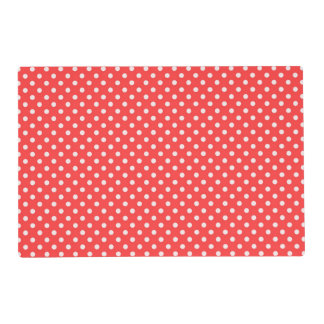 Coral Red and White Polka Dot Pattern Placemat